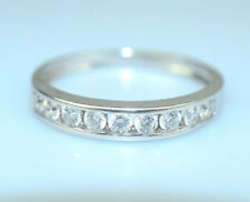 10K White Gold Channel Set Cz Wedding Band Or Stacking Ring Size 10.25