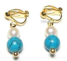 Genuine White Pearl & Turquoise 18K YGP Clip On Earrings