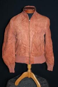 VERY RARE VINTAGE 1950'S RED BROWN DEERSKIN SUEDE ZIPPER JACKET SIZE 40 SMALL