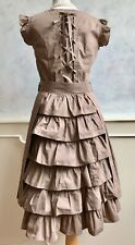 NEW- Boutique Made Victorian Style Bustle Reverse Layered Brown Swing Dress 8/10