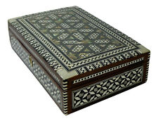 """Egyptian Mosaic Inlaid Mother Of Pearl Jewelry Trinket Box 10"""" Velvet  222"""