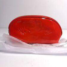 """LANCÔME Red Vinyl Makeup Bag/Cosmetic Case Winking Eyes Lancome 5""""x9.5"""""""
