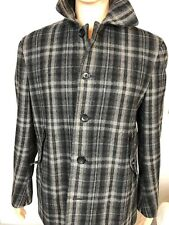 Banana Republic Men's Gray Plaid Wool Peacoat Style Jacket - Medium (R)
