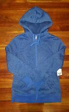 Jockey Sport size M HEATHERED BLUE full zip fleece drawstring hoodie * NWT * $56