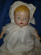 "Vintage Composition/Cloth 21"" Baby Doll blu Eyes, painted Hair-antique clothes"