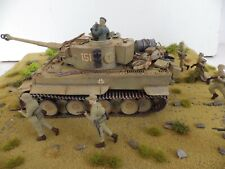 * NEW * TIGER TANK  NORTH  AFRICA ( AIR  BRUSHED )  BUILT  SCENE  1.35 SCALE