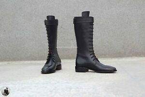 Handmade Women's Genuine Black Leather Marching High Ankle Lace Up Zipper Boots