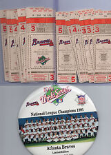 1991 World Series + NLCS Ticket Stub Lot (22) Twins, Braves, Pirates, Puckett ++