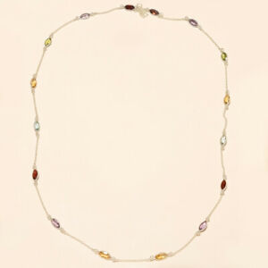 """9.50 Gm 925 Solid Sterling Silver Natural Multi Cut Stone Necklace 30.15"""" M-639"""