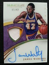 JAMES WORTHY 2014-15 PANINI IMMACULATE ACETATE AUTO GAME-WORN JERSEY PATCH #1/42