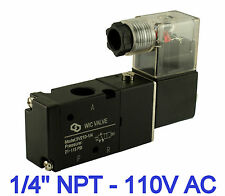 "1/4"" Inch Pneumatic 3 Way Electric Air Directional Control Solenoid Valve 110V"