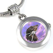 Deerhound Dog Silver Quartz Watch European Spacer Charm Bead For Bracelet EBA81
