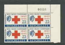 SEYCHELLES 1963 RED CROSS SCOTT # 215 CORNER PLATE BLOCK OF 4 # 151 MNH FREESHIP