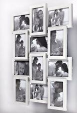 3D Bilderrahmen Fotorahmen Collage 12 Fotos Fotogalerie, Weiss, Braun, Silber