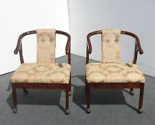 Pair Vintage BERNHARDT Oriental Asian Silk Floral Design ACCENT ARM CHAIRS