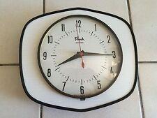 Belle Horloge en FORMICA blanc / gris  FLASH  Des Années 50's 60's