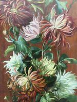Belle peinture HSP huile sur panneau bois Nature Motrte Bouquet Fleurs Signé