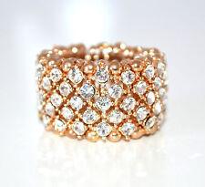 ANELLO ORO STRASS donna elastico dorato fedina fascia veretta cristalli ring F70