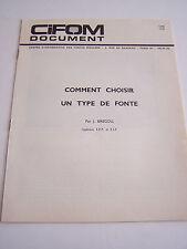 PUBLICITE , VIEUX PAPIERS , CIFOM , METHODE ETUDE D ' UNE PIECE DE FONDERIE 1965