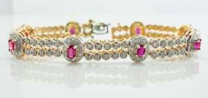 11.34CT Oval Cut Pink Sapphire & Diamond 14K Yellow Gold Over Exclusive Bracelet