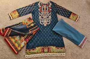 New Pakistani Indian Blue Linen Shalwar Kameez Stitched suit 3 piece suit Gift