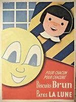 PUBLICITÉ DE PRESSE 1953 BISCUITS BRUN PATES LA LUNE - Rico Germéno