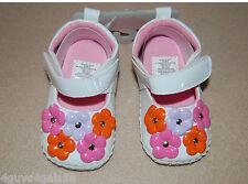 Baby Girls White Crib Shoes Indoor Pink Purple Orange Flowers Strap Fasten Sz 3