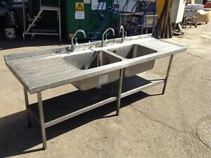STAINLESS STEEL DOUBLE SINK & DRAINER, ON LEGS WITH SHELF & TAPS (MG1384)