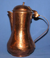 Vintage hand made folk copper coffee tea pot lidded jug