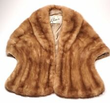 Vintage Cognac Blonde Genuine Mink Fur Cape Shawl Wrap Shrug Stole Bridal Klines