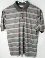 GRANDSLAM Men's Size XL Polo Golf Rugby Short Sleeve Shirt Grey & Orange Stripes