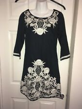 Monsoon Black Tunic Dress White Applique/Embroidered Floral Detail Size 8