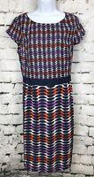 Boden Kensington Cap Sleeve Navy Purple Orange Silk Blend Sheath Dress 14 Long