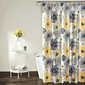 Lush Decor Leah Shower Curtain - Bathroom Flower Floral Large Blooms Fabric P...