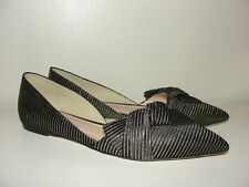 J.CREW *LOVELY!!BLACK&GOLD SLOAN STRIPED D'ORSAY FLATS OBI BOW SHOES E4667*8