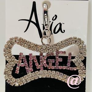 Aria ANGEL Dog Collar Charm in Pink & Clear Rhinestones - US SHIPPER