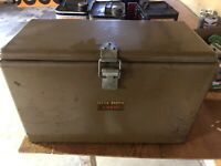 1950s Vintage Little Brown Chest Cooler Camping Van Picnic Ice Chest 20x15x9