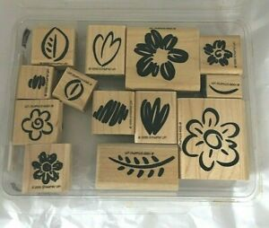 Stampin Up Fanciful Flowers Mounted Stamp Set 13 Floral Leaves Stems1999 2000