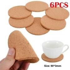 6pcs Natural Cork Coasters Wooden Tableware Cup Mat Tea Coffee Mug Padmug Pad O