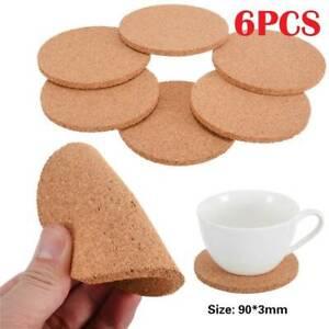 6pcs Natural Cork Coasters Wooden Tableware Cup Mat Tea Coffee Mug PadMug Pad.~