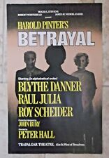 VTG Harold Printers BETRAYAL Play New York WINDOW CARD Raul Julia  Roy Scheider