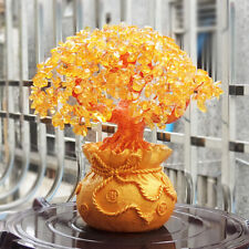 Feng Shui Money Wealth Tree Yellow Citrine Amethyst Crystal Gem Spiritual Lucky
