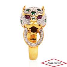 Estate Diamond Ruby Emerald 18K Gold Panther Cluster Ring 7.1 Grams NR
