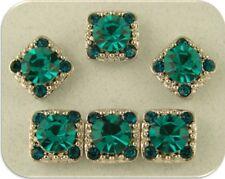 2 Hole Beads Crystal GALA Blue Zircon & Indicolite Swarovski Elements ~ QTY 6