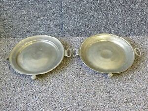 """Pair of Antique Pewter Food Warming Plates by Mappin Webb & Co Diameter 9.75"""""""