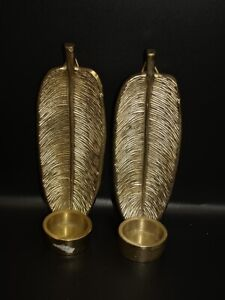 Pair of sturdy gilt leaf wall candle sconces