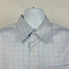 Nordstrom Wrinkle Free Tailored Fit Blue Purple Check Mens Dress Shirt 16.5 - 34