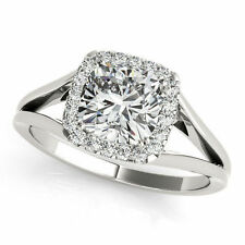1.03 ct center Cushion cut Diamond Halo Engagement Solitaire 14k White Gold Ring