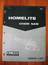 Homelite XL 500 Automatic Chain Saw Parts list