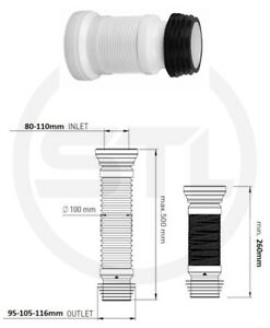 Flexible Toilet Pan Connector WC Straight Waste 150MM-500MM